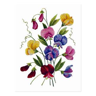 Guisantes de olor coloridos bordados postal