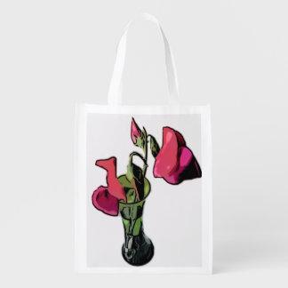 Guisantes de olor en bolso reutilizable del bolsas para la compra