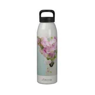 Guisantes de olor en florero antiguo botella de agua reutilizable
