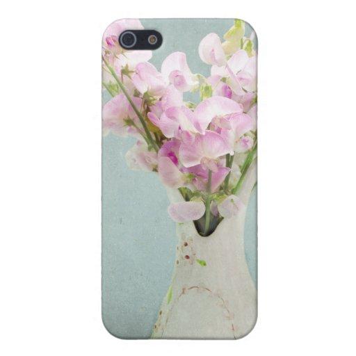 Guisantes de olor en florero antiguo iPhone 5 funda