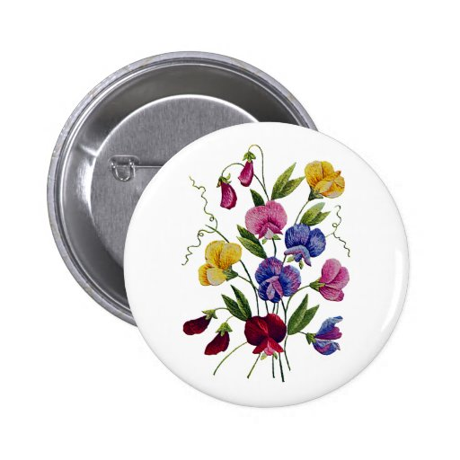 Guisantes de olor hermosos, coloridos, bordados pin redondo de 2 pulgadas