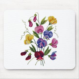 Guisantes de olor hermosos coloridos bordados tapetes de raton