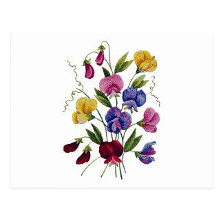 Guisantes de olor hermosos, coloridos, bordados tarjeta postal