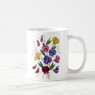 Guisantes de olor hermosos, coloridos, bordados taza clásica