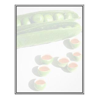 Guisantes del té - guisantes en una vaina con las  plantilla de membrete