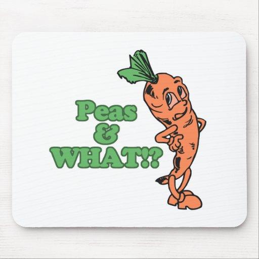 guisantes divertidos y qué zanahoria preocupante alfombrillas de ratón