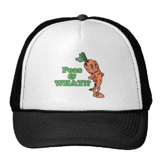 guisantes divertidos y qué zanahoria preocupante gorras
