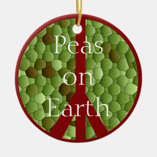 Guisantes en la tierra - ornamento del símbolo de adorno navideño redondo de cerámica