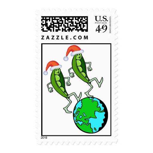 Guisantes en sellos del día de fiesta de la tierra