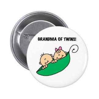 Guisantes en una abuela de la vaina de gemelos pin redondo 5 cm