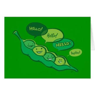 Guisantes en una vaina (hola) tarjeta de felicitación