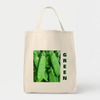 Guisantes frescos de la primavera bolsa lienzo