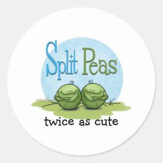 Guisantes partidos - veggies gemelos etiquetas redondas