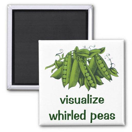 Guisantes rápidos de azúcar del vintage, verduras imán cuadrado