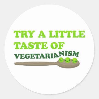 Guisantes vegetarianos pegatina redonda