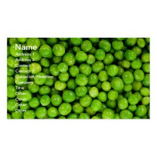 Guisantes verdes tarjetas de visita