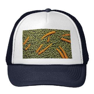 Guisantes verdes y zanahorias gorro de camionero