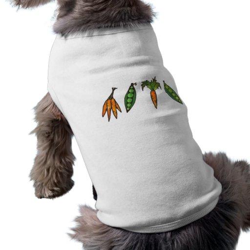 Guisantes y camisa del perrito de las zanahorias camisetas mascota