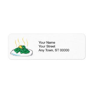 guisantes y mantequilla etiqueta de remite