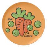 Guisantes y placa de las zanahorias platos de comidas