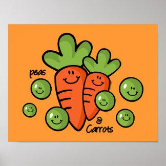 Guisantes y poster de las zanahorias