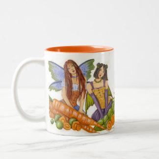Guisantes y taza de las zanahorias