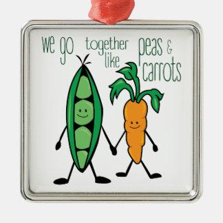 Guisantes y zanahorias adorno navideño cuadrado de metal