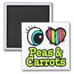 Guisantes y zanahorias brillantes del amor del cor iman para frigorífico