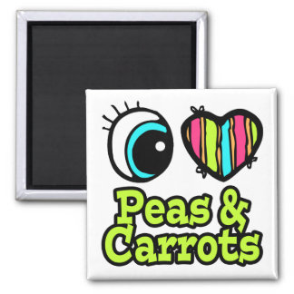 Guisantes y zanahorias brillantes del amor del cor imán cuadrado