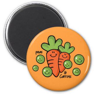 Guisantes y zanahorias imán redondo 5 cm