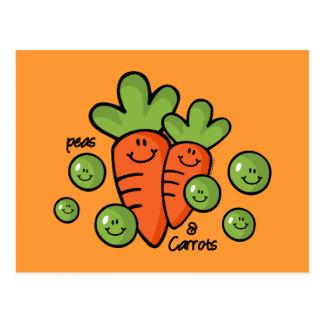 Guisantes y zanahorias postales