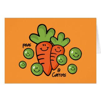 Guisantes y zanahorias tarjeta de felicitación