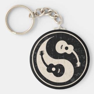 guit-yang1-blk-tan-T Basic Round Button Keychain
