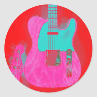 Guita rojo rosado pegatina redonda