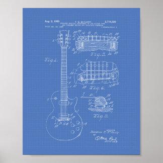 Guitar 1955 Patent Art - Blueprint Poster