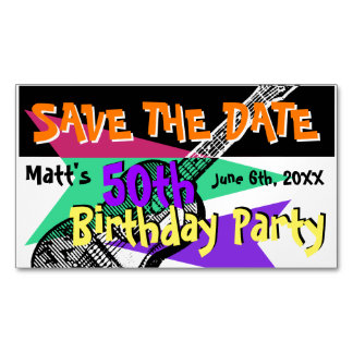 Guitar 50th Birthday Party Save the date Magnetic2 Business Card Magnet