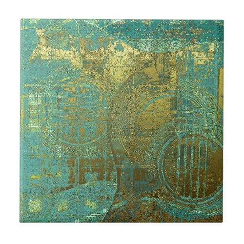 Guitar Abstract Blue Green Gold Brown Ceramic Tile