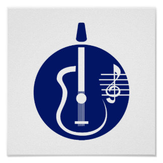 guitar abstract cutout with notes blue.png poster