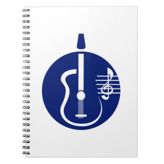 guitar abstract cutout with notes blue.png spiral notebook