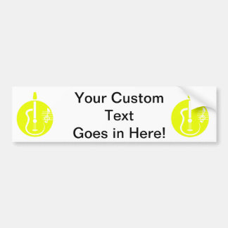guitar abstract cutout with notes yellow.png bumper sticker