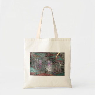 guitar abstract darker colors grunged budget tote bag