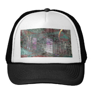 guitar abstract darker colors grunged mesh hats