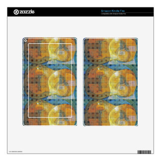 Guitar Abstract Orange Blue Decals For Kindle Fire