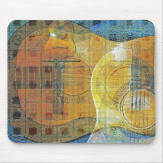 Guitar Abstract Orange Blue Mouse Pad