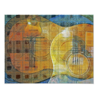 Guitar Abstract Orange Blue Poster