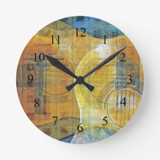 Guitar Abstract Orange Blue Round Clock