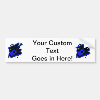 guitar abstract scribble back black blue.png bumper sticker