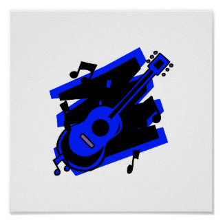 guitar abstract scribble back black blue.png poster