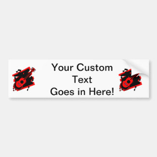 guitar abstract scribble back black red.png bumper sticker