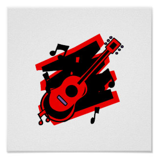 guitar abstract scribble back black red.png poster